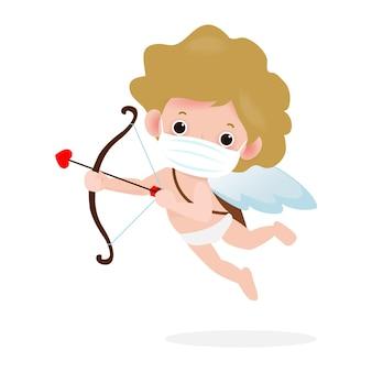 Cupidon mignon tenant un personnage d'arc en bois dans happy valentines day