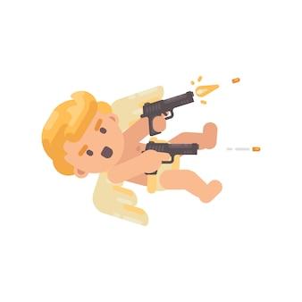 Cupidon mignon tirant deux pistolets