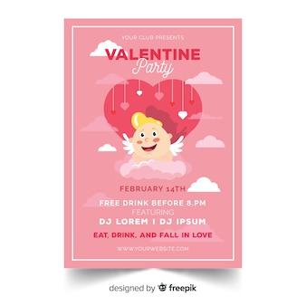 Cupidon sur le modèle d'affiche fête saint valentin nuage