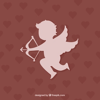 Cupidon silhouette sur fond coeurs