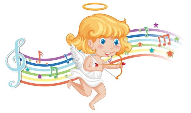 Cupidon tenant un arc et une flèche avec des symboles de mélodie sur l'arc-en-ciel
