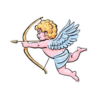 Cupidon tiré par la main de bande dessinée visant un arc et une flèche