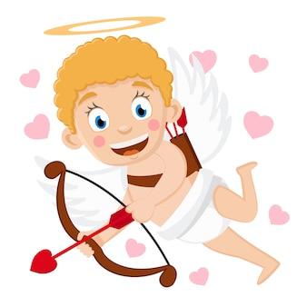 Cupidon vole avec un arc et des flèches et sourit sur un fond blanc.