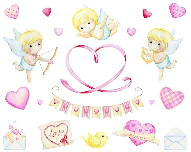 Cupidons, lettres d'amour, nuages, coeurs. jeu d'aquarelle, éléments, en style cartoon, sur un fond isolé.