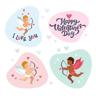 Cupids et anges avec des arcs et des flèches