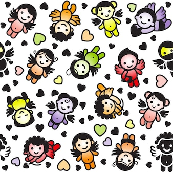 Cupids définir des icônes de couleur, papier d'emballage