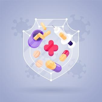 Cure pour un nouveau concept de virus illustré