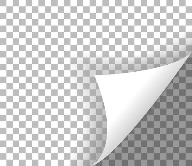 Curl de page avec ombre coin de page frisé sur fond transparent