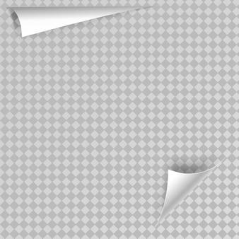 Curl de page avec une ombre sur une feuille de papier blanc autocollant en papier blanc