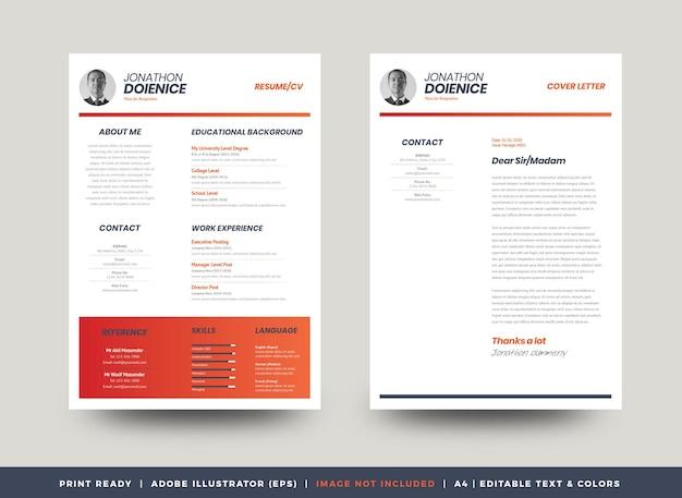 Curriculum vitae cv cv template design ou détails personnels pour la demande d'emploi