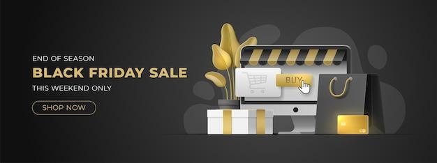 Curseur de site web pour la vente black friday avec espace de copie. modèle pour magasin discount, boutique.