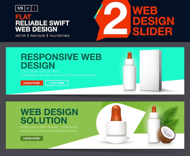 Curseur web pour votre site web. concepts de conception de bannières pour le site web cosmétique.