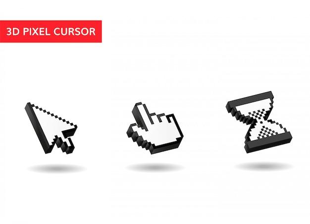 Curseurs de souris. pixel, 3d, curseurs simples
