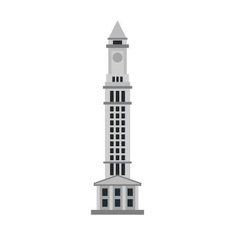Custom house tower boston vecteur de bâtiment