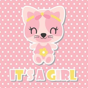 Cute baby kitten est une jolie illustration vectorielle de dessin animé de fille pour la conception de carte de douche de bébé, le design de chemise d'enfant et le fond d'écran