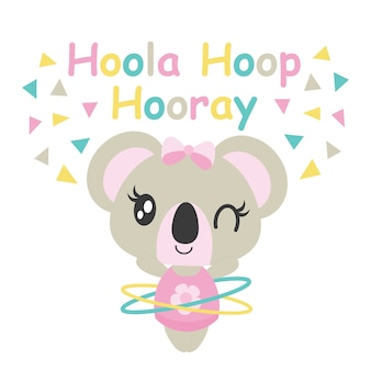 Cute baby koala joue hoola hoop illustration de bande dessinée vectorielle pour conception de carte de baby shower, conception de tee-shirt enfant et fond d'écran