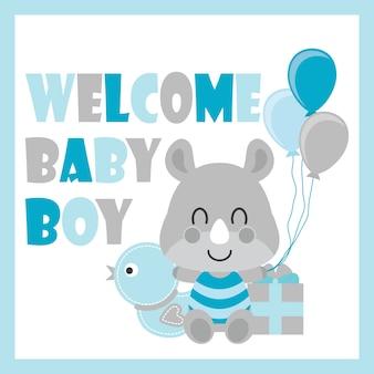 Cute baby rhino s'assoit entre le jouet de canard et l'illustration de dessin animé de boîte cadeau pour la conception, la carte postale et le fond d'écran de baby shower.