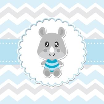 Cute baby rhino sourit sur l'illustration de dessin animé de cadre de fleur pour la conception, la carte postale et le fond d'écran de baby shower