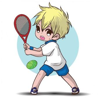 Cute boy joue au personnage de dessin animé de tennis.