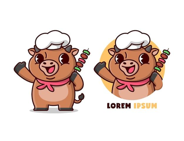 Le cute brown bull chef apporte une viande barbeque dans le style des cartoon