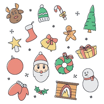 Cute christmas icons set