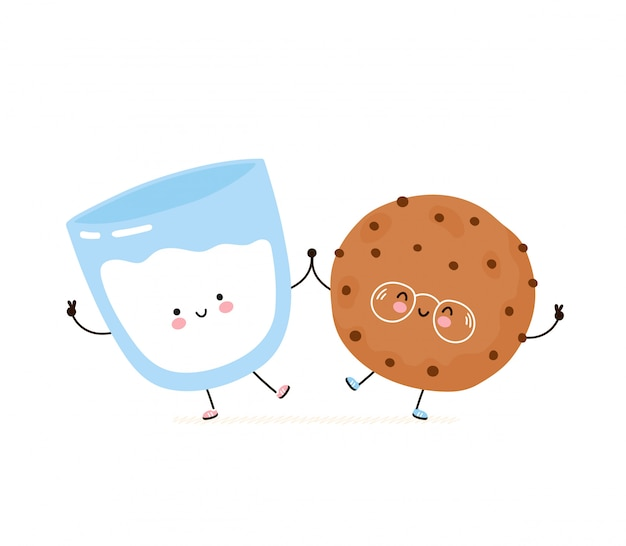 Cute cookie aux pépites de chocolat souriant heureux et verre de lait. isolé sur blanc conception de dessin vectoriel personnage illustration, style plat simple. concept d'amis de biscuit et de lait