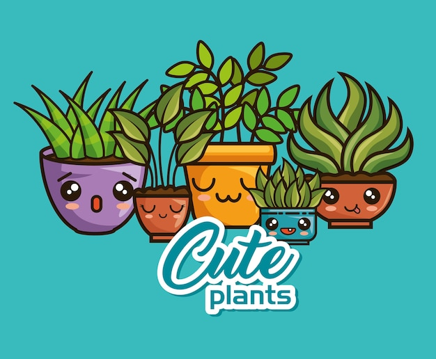 Cute cute kawaii plantes d'intérieur dessins animés