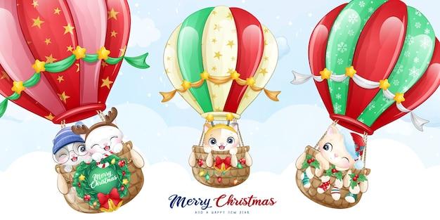 Cute doodle kitty volant avec illustration de ballon à air