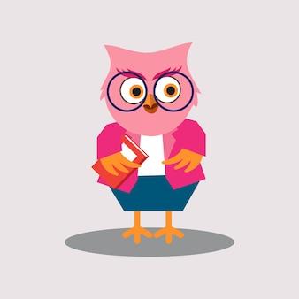 Cute female teacher of owl cartoon character