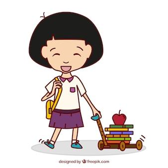 Cute girl aller à l'école