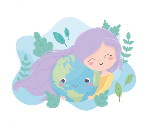 Cute girl hugs world cartoon feuillage environnement écologie