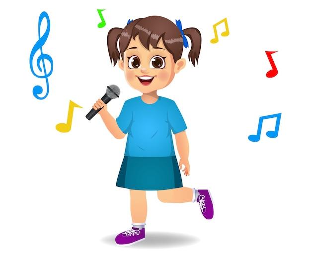 Cute girl kid chantant la chanson isolée sur blanc