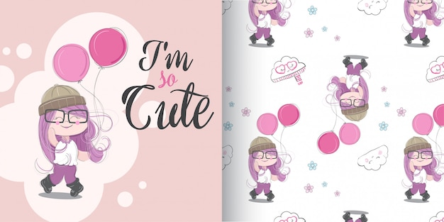 Cute girl pattern set, main dessiner illustration-vecteur