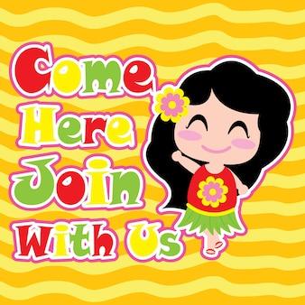 Cute girl says hello on yellow striped background vector cartoon, carte postale d'été, fond d'écran et carte de voeux, t-shirt design pour enfants