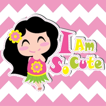 Cute girl sourit sur un dessin animé de vecteur de fond de chevron, carte postale d'été, fond d'écran et carte de voeux, design de t-shirt pour enfants