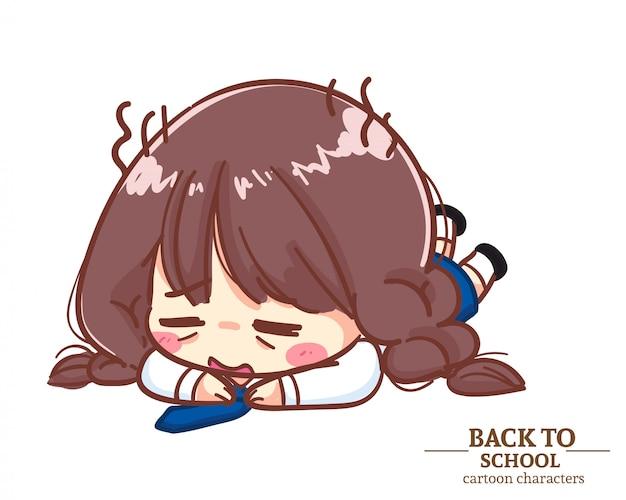 Cute girl uniformes d'étudiants enfants couché sur le sol pour rentrer à l'école. illustration de dessin animé vecteur premium
