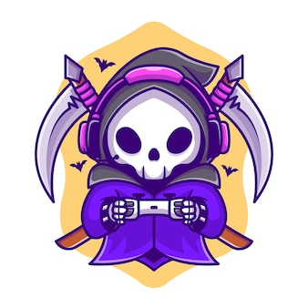 Cute grim reaper gaming with scythe cartoon illustration. concept d'icône de jeu halloween