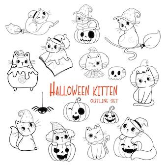 Cute halloween chat cartoon contour doodle set vector pour cahier de coloriage