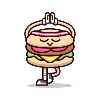 Cute hamburger faisant une illustration de cartoon de position de yoga.