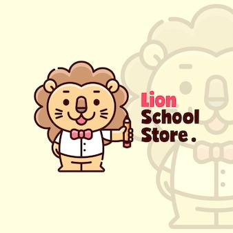 Cute happy face lion debout et apportez le logo de cartoon de crayon