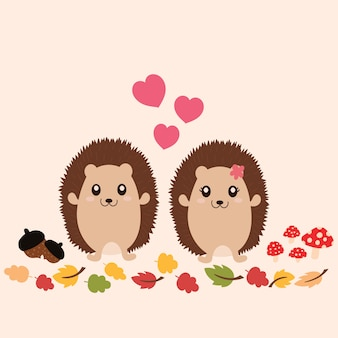 Cute hedgehogs in love.