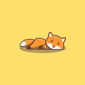 Cute kawaii hand drawn doodle bored lazy fox