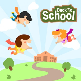 Cute Kids Back To School Illustration