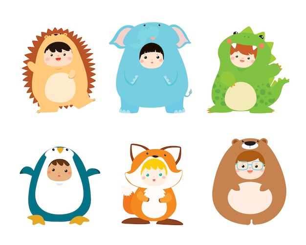 Cute kids portant des costumes d'animaux vector illustration