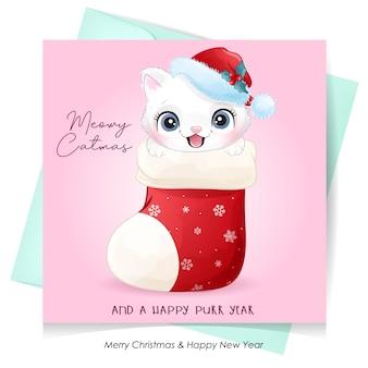 Cute kitty doodle pour le jour de noël avec illustration aquarelle