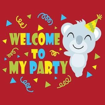 Cute koala sourit sur fond rouge bande dessinée, carte postale d'anniversaire, fond d'écran et carte de voeux, t-shirt design pour enfants