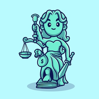 Cute lady justice avec échelles et sac d'argent cartoon vector icon illustration. concept d'icône de droit de personnes isolé vecteur premium. style de dessin animé plat