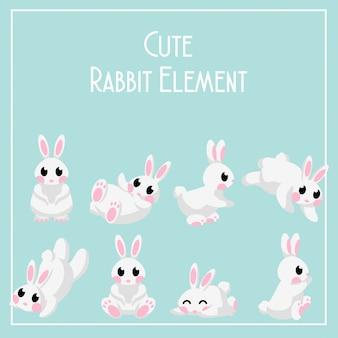 Cute lapin de jour lun bunny element