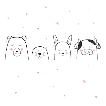 Cute line animaux set