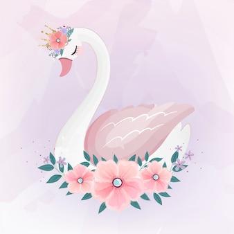 Cute little princess swan avec bouquet de fleurs.